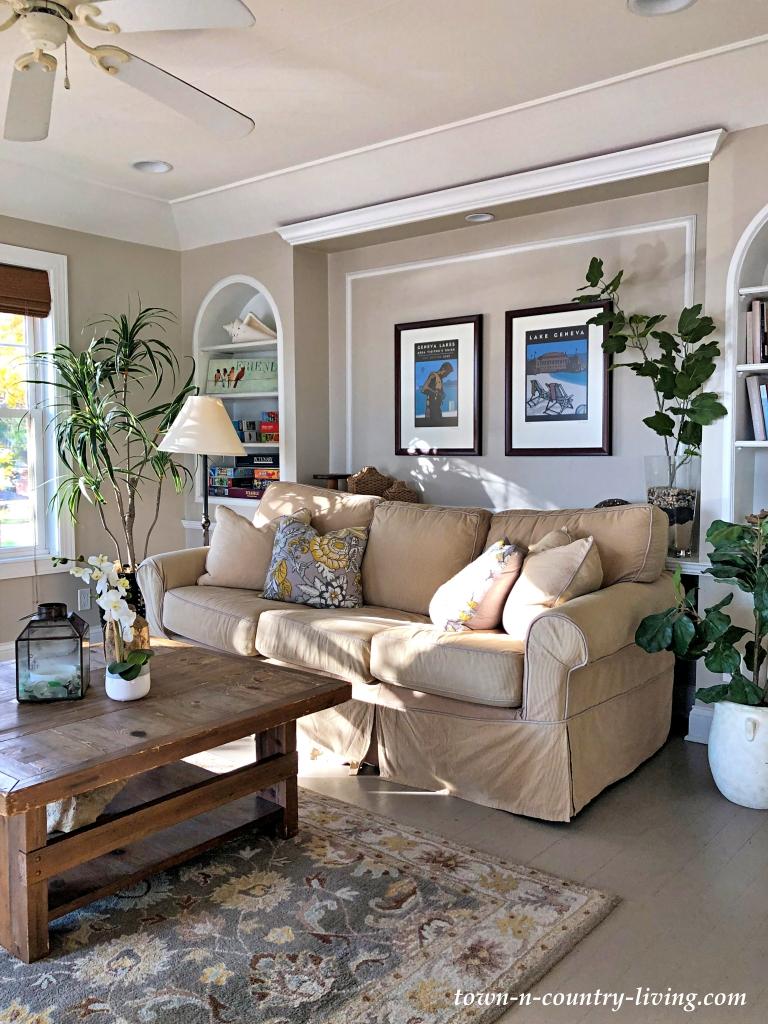 Cozy Lake Condo Living Room in Neutral Decor