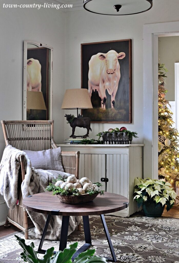 Cow Painting in Cozy Sitting Room