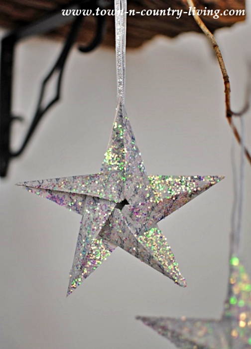 Origami Glitter Star Christmas Ornament