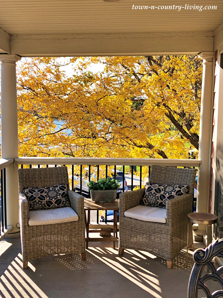 Second Story Deck in the Fall Across from Lake Geneva