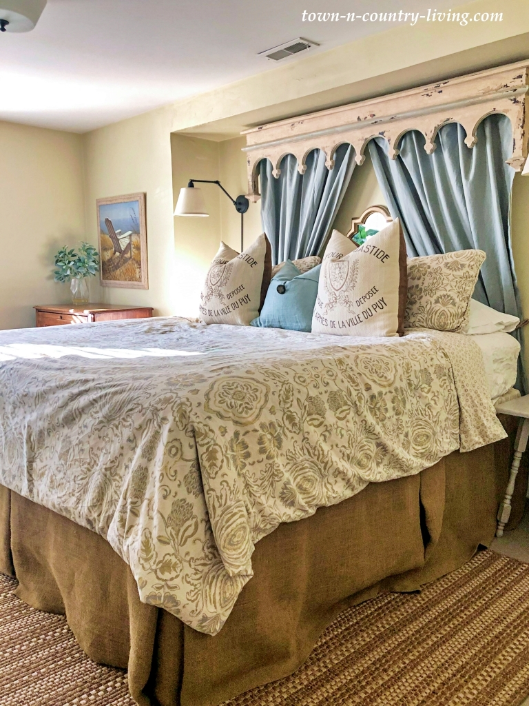 French Country Style Bedroom with Burlap Bed Skirt