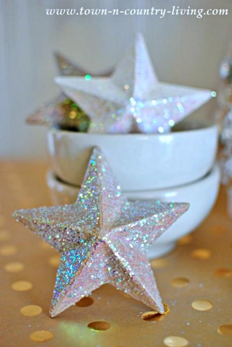 Glittery Paper Mache Christmas Stars