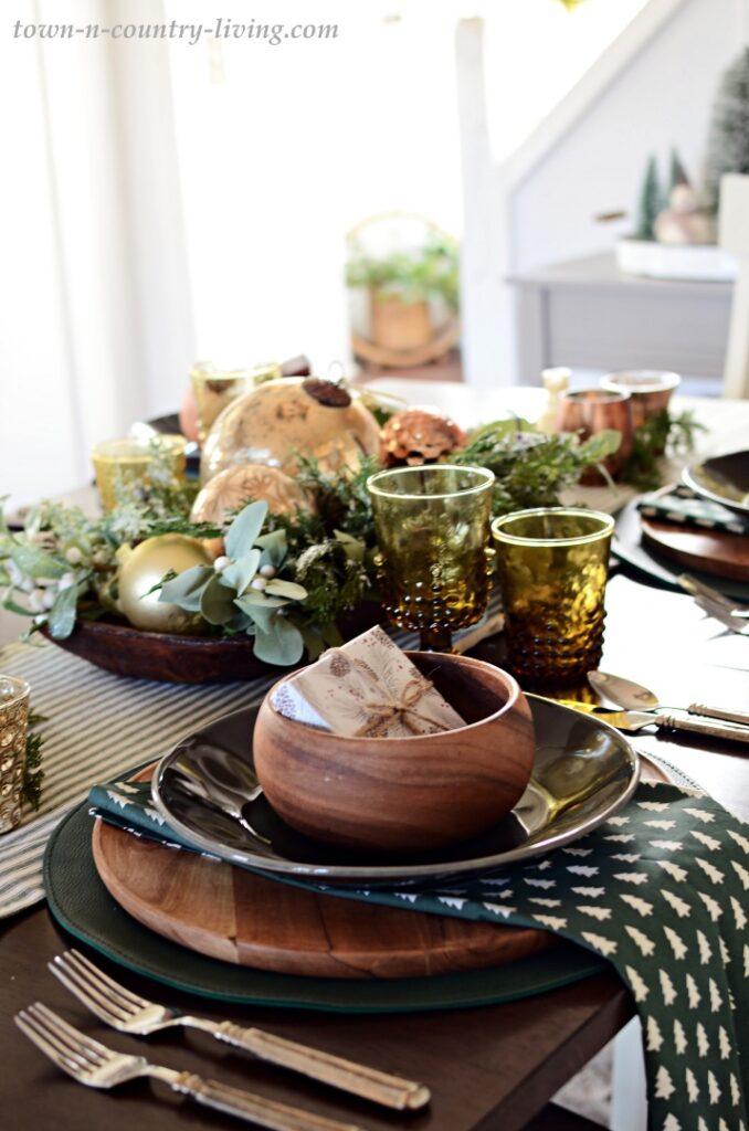 Green and Wood Christmas Table Setting