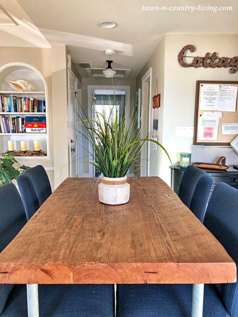 High Top Kitchen Table with Navy Blue Upholstered Bar Stools