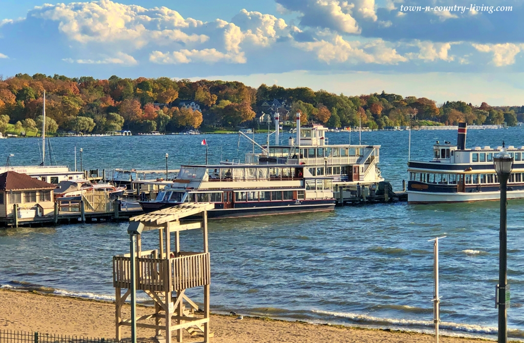 View of Boats on Lake Geneva, Wisconson in the Fall