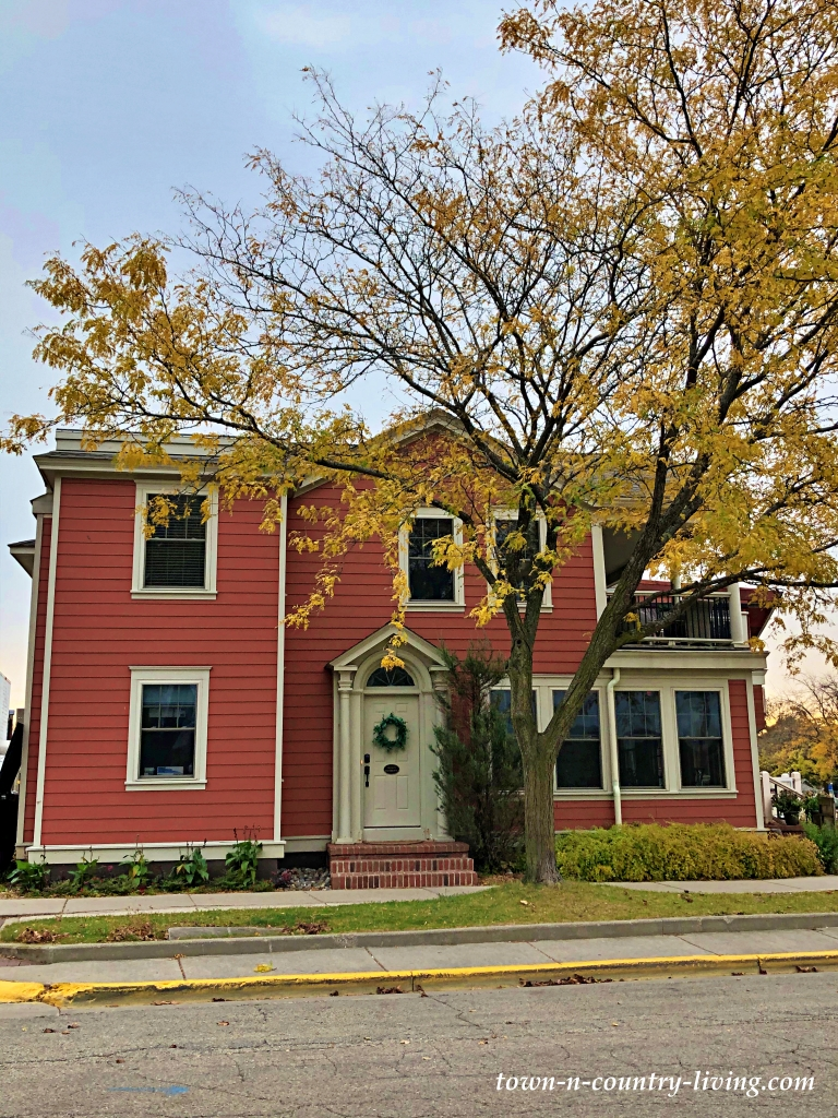 Two-Story Red Home in Lake Geneva, Wisconsin