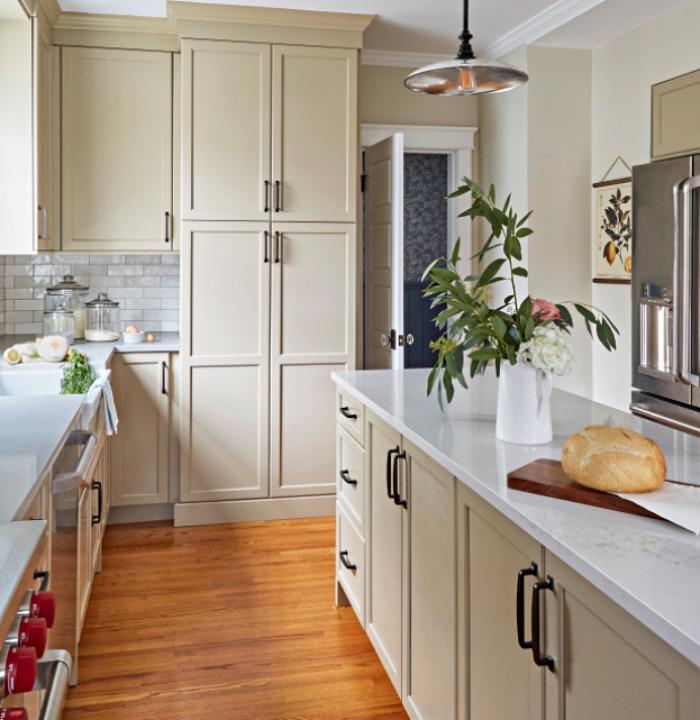 Beige Kitchen Cabinets in Historic Home