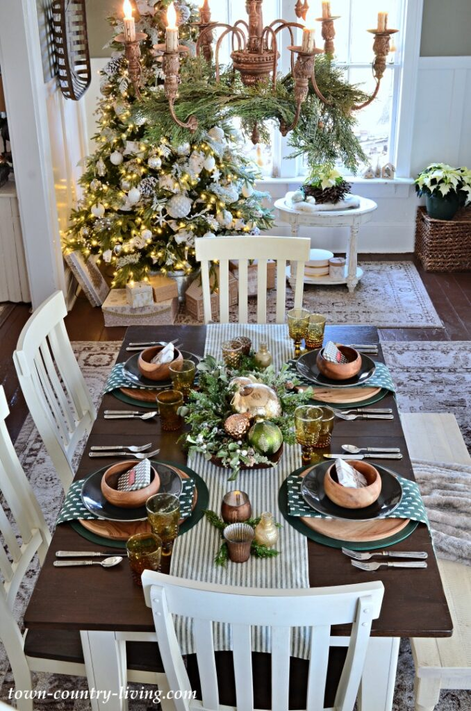 Christmas Tablescape with Wood, Dark Green, and Metallic Accents