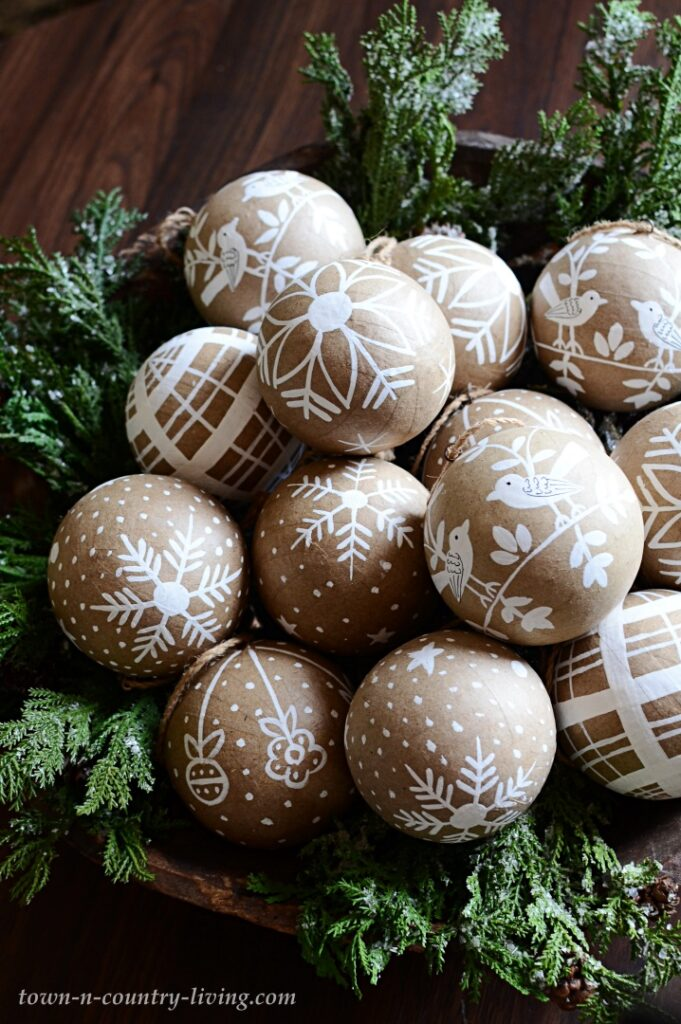 Painted Paper Mache Christmas Ornaments