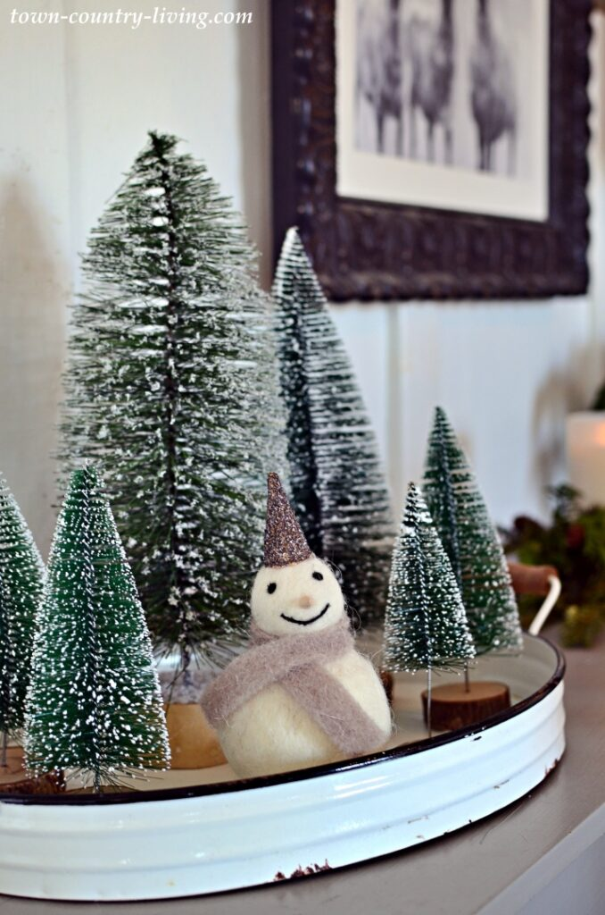 Green Bottle Brush Christmas Trees with a Felt Snowman