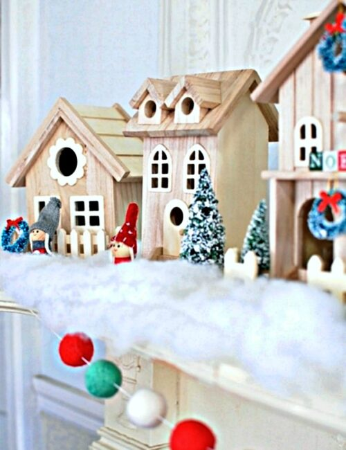 Scandinavian Style Wooden Christmas Village on Mantel
