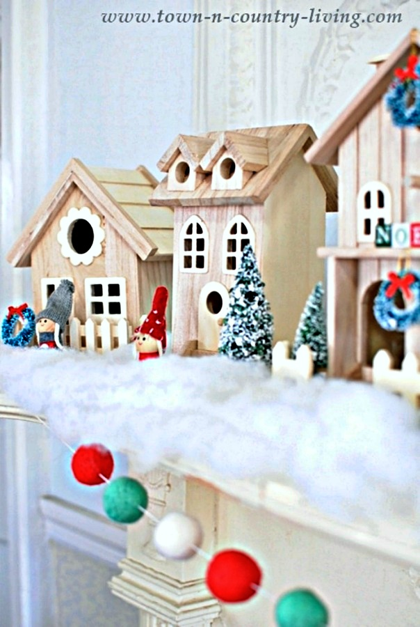 Scandinavian Style Wooden Christmas Village on Mantel