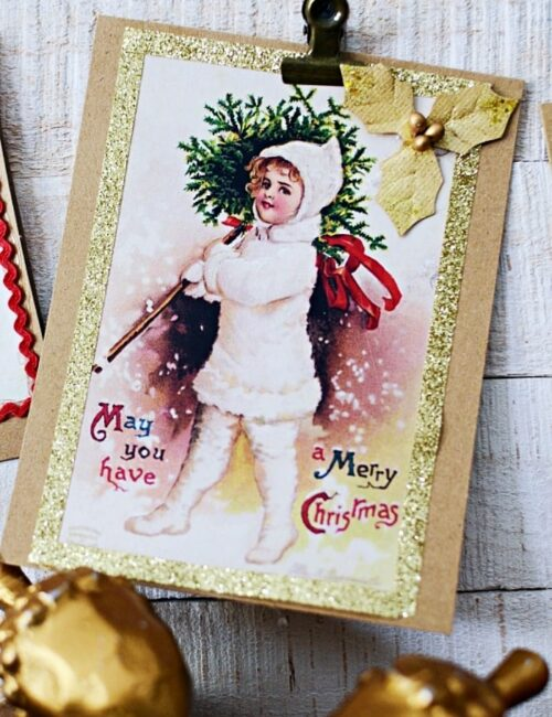 DIY Christmas Cards with Vintage Prints