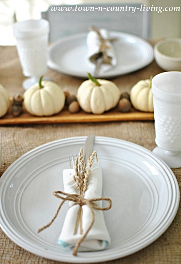 Simple Thanksgiving Table Setting with Wheat and Baby Boo Pumpkins