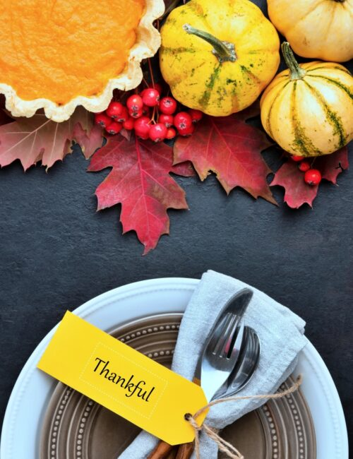 Thanksgiving Dinner Place Setting with Pumpkin Pie