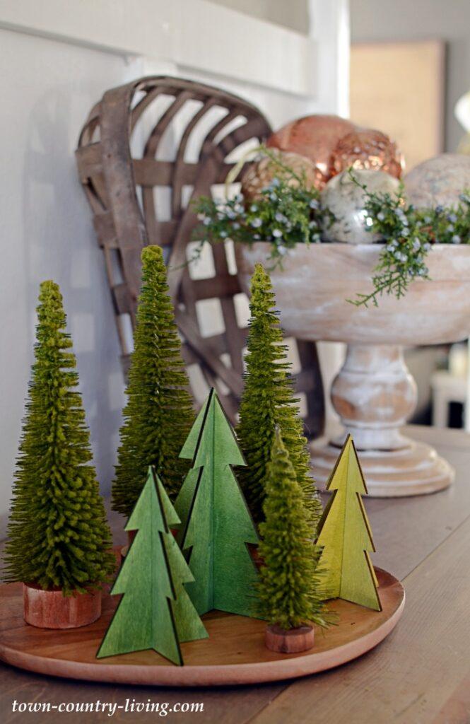 Mini Christmas Trees on a Wood Plate