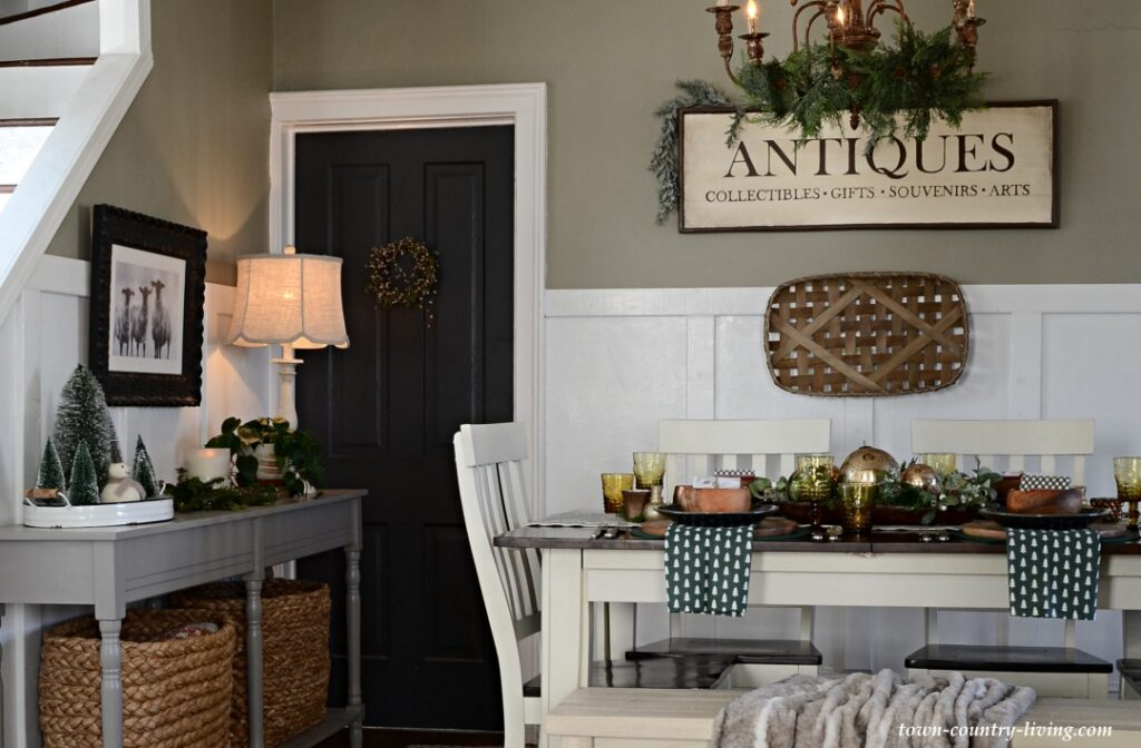 Country Style Dining Room with Christmas Decorations