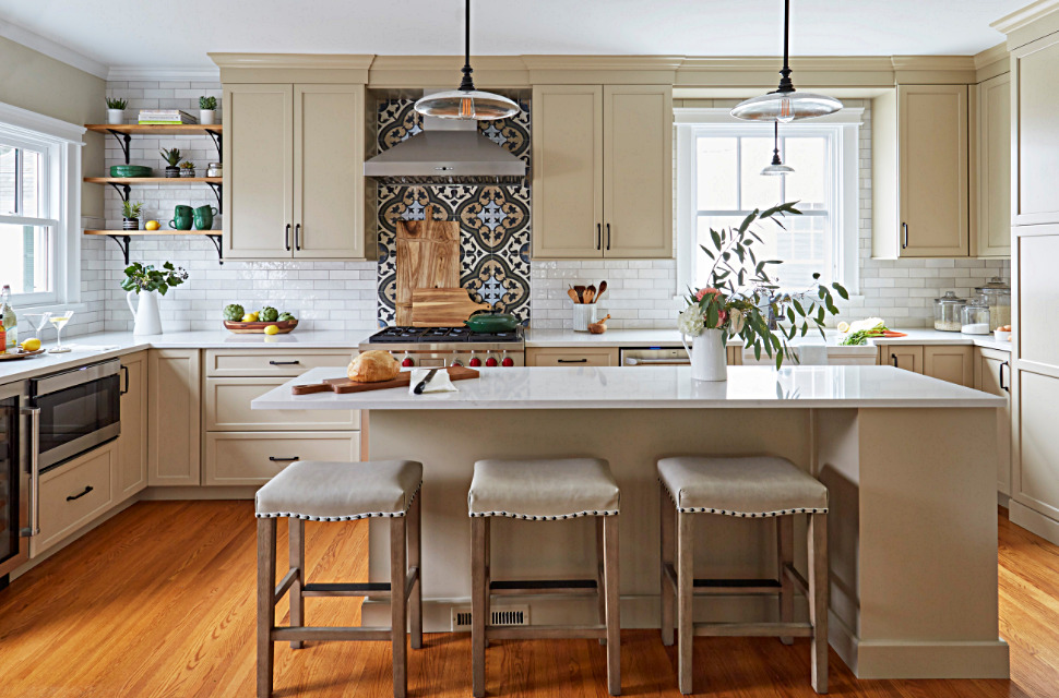 Neutral Colors in Vintage Kitchen with Wood Floors and Painted Cabinets