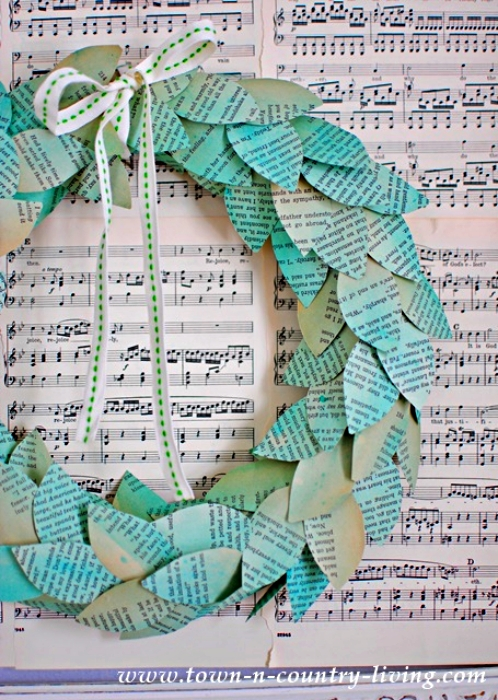 Color Washed Book Page Wreath