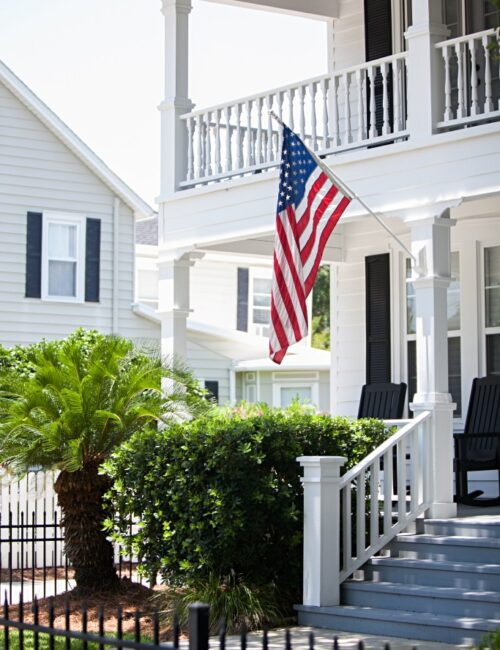 White Southern Porch with United States Flag