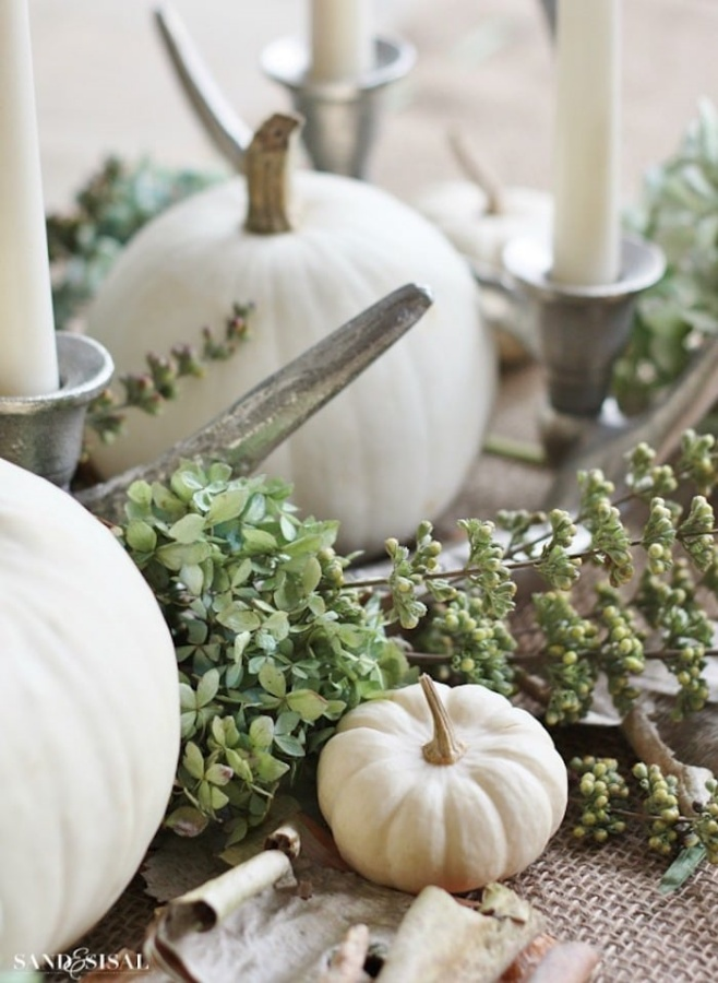 White Pumpkin Centerpiece by Sand and Sisal