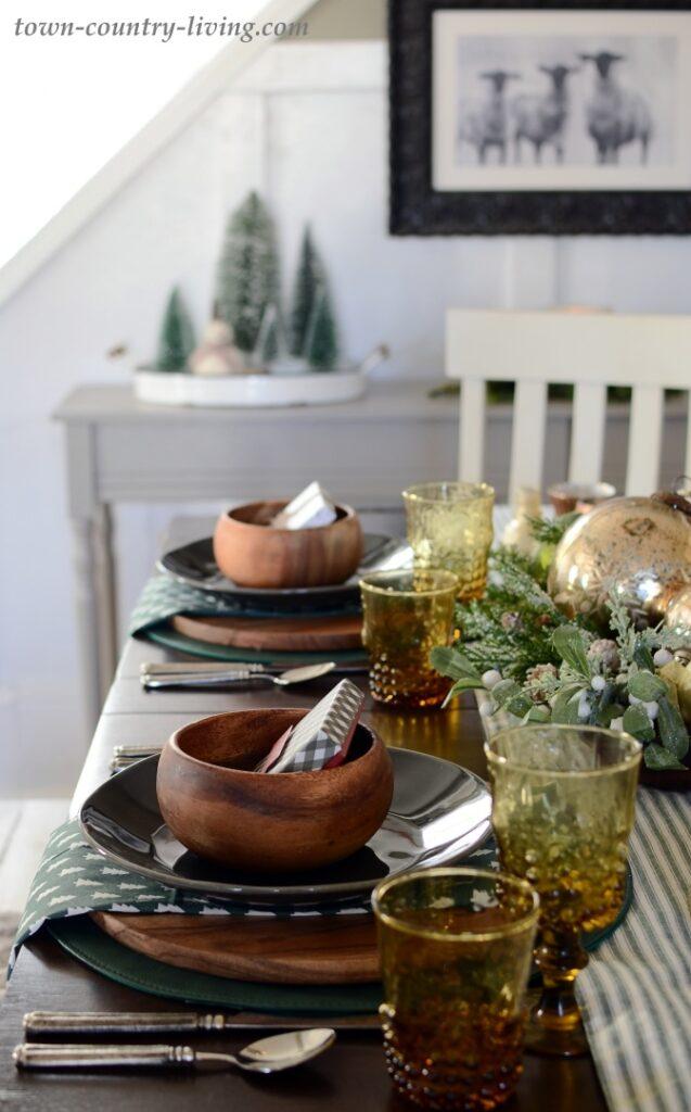 Christmas Table Setting in an Historic Farmhouse