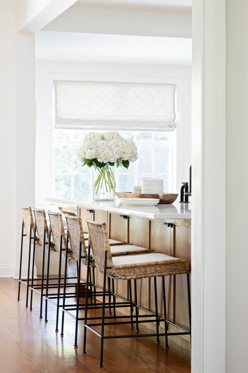 Rattan Bar Stools at Kitchen Island