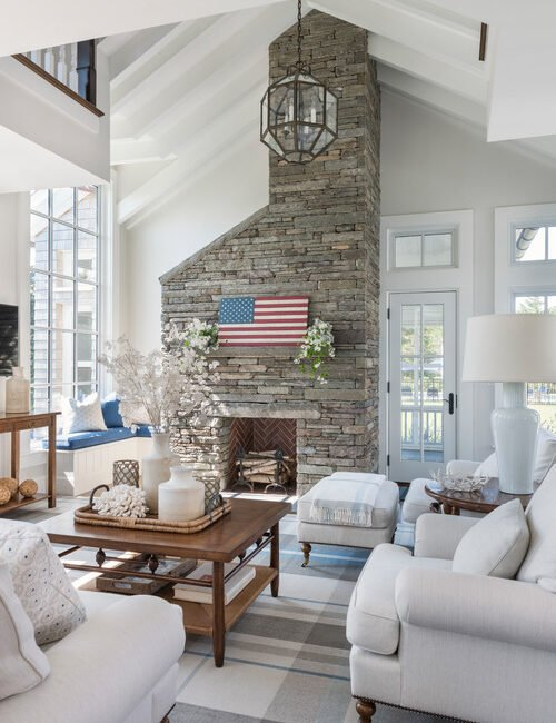 Vaulted Ceiling in Family Room with Large Stone Fireplace