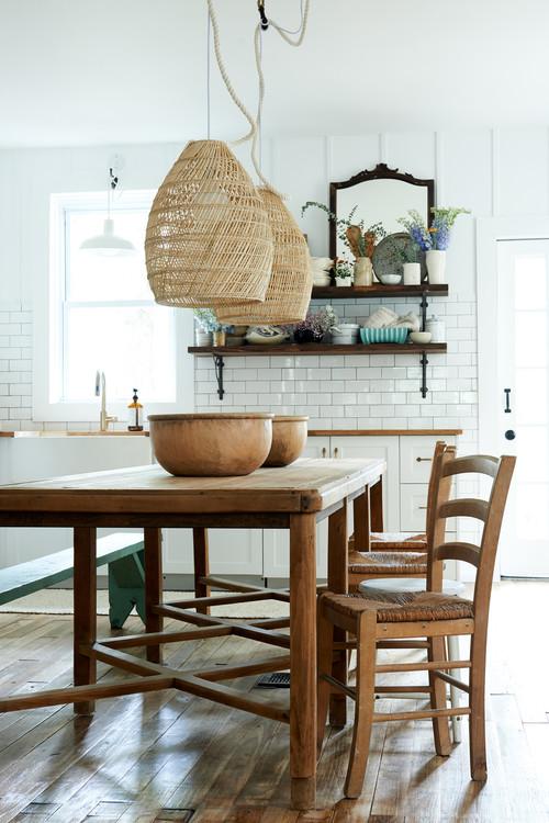 Basket Pendant Lights in Farmhouse Kitchen Dining Room