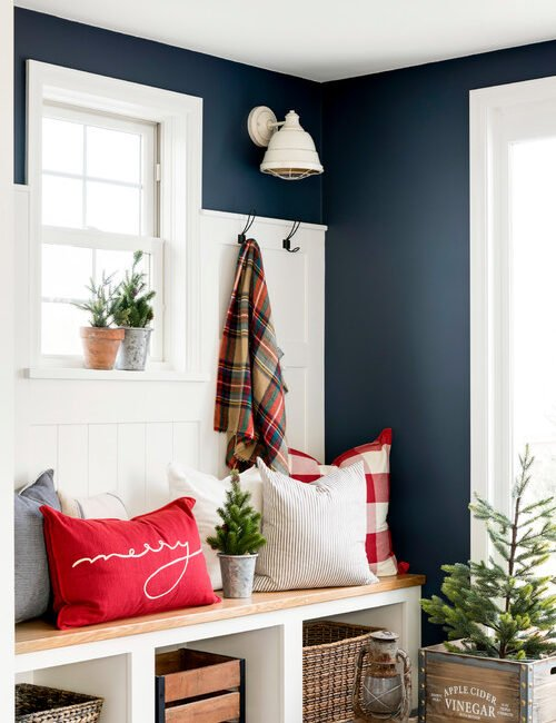 Cottage Farmhouse Entryway Decorated for Christmas