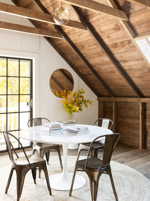 Wood Plank Vaulted Ceiling in Farmhouse Dining Room