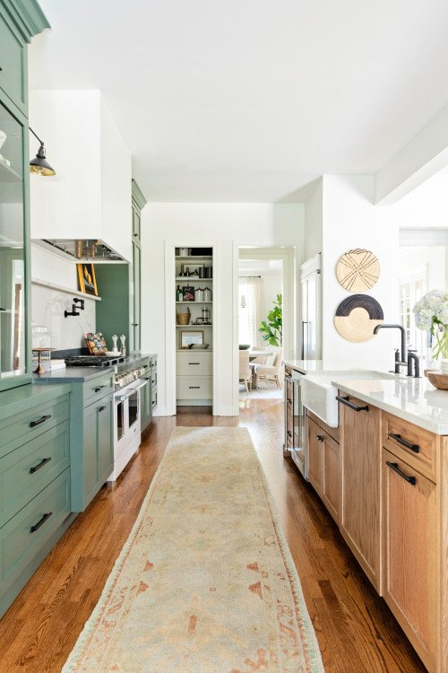 Galley Style Kitchen with Grayish Green Shaker Cabinets