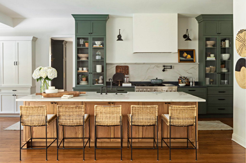 Modern Country Kitchen with Wood Island and Floors