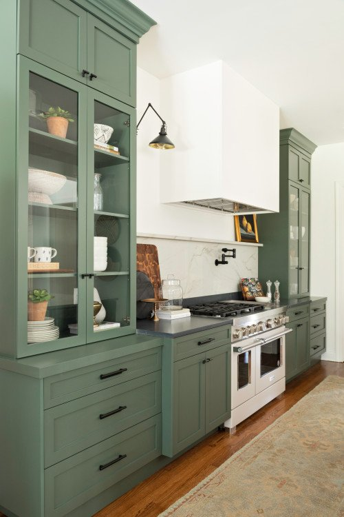 Green Shaker Cabinets in Modern Country Kitchen