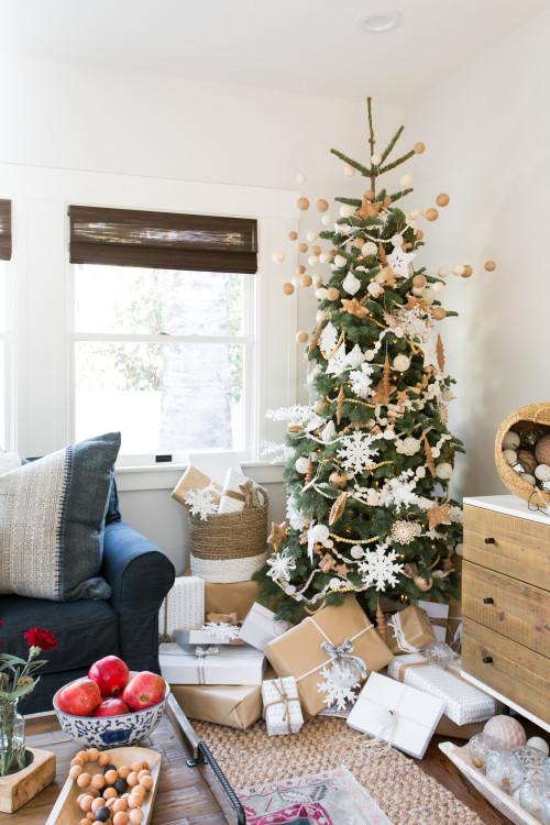 Boho Chic Family Room with Christmas Tree