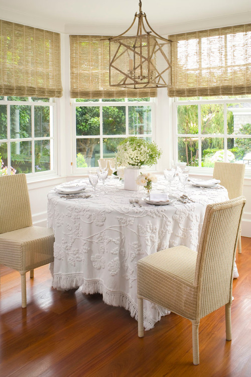 Cozy Dining Nook with Chenille Tablecloth