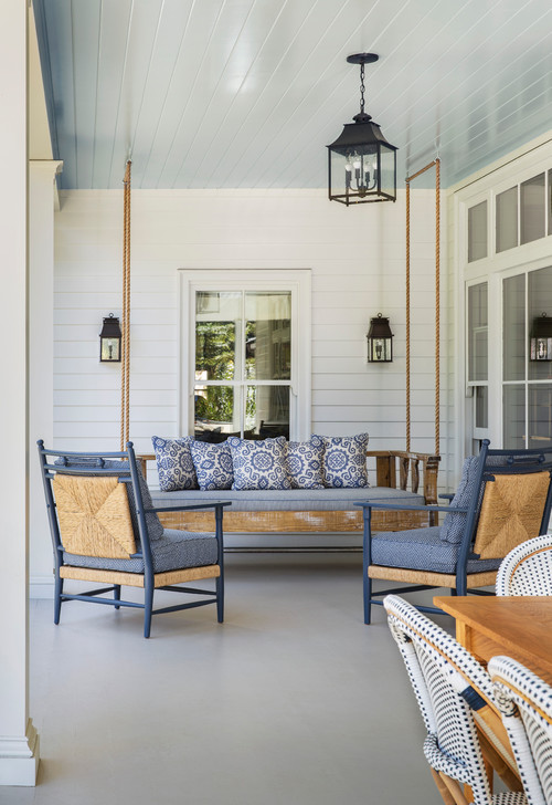 Large Back Porch with Suspended Porch Swing