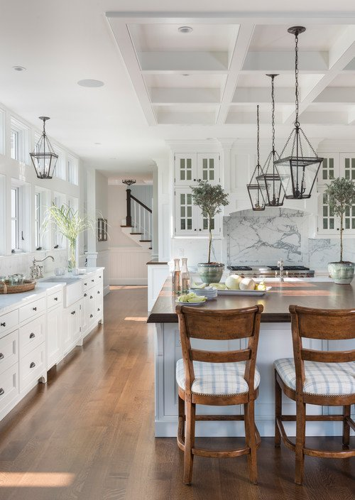 White kitchen and wood floors - Boston coastal home remodel