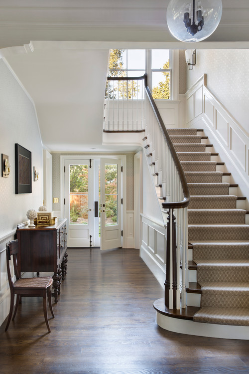 Grand staircase in traditional California Home