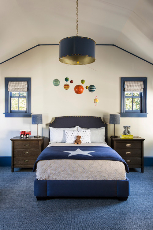 Boys Navy Blue Bedroom  with Planet Mobile