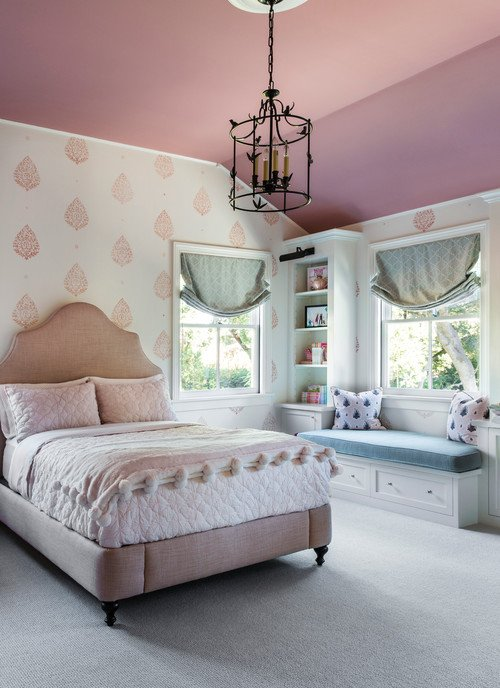 Girls Bedroom with Pink and White Wallpaper