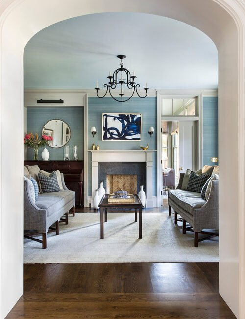 Pale Blue and Gray Traditional Style Living Room