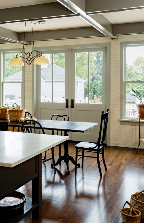 Victorian Home Dining Room with Wood Floors