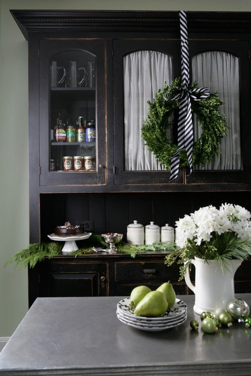 Black Farmhouse Kitchen Hutch Decorated for Christmas