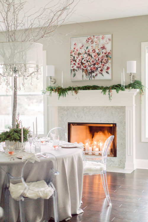 Modern Glam Breakfast Nook with Fireplace