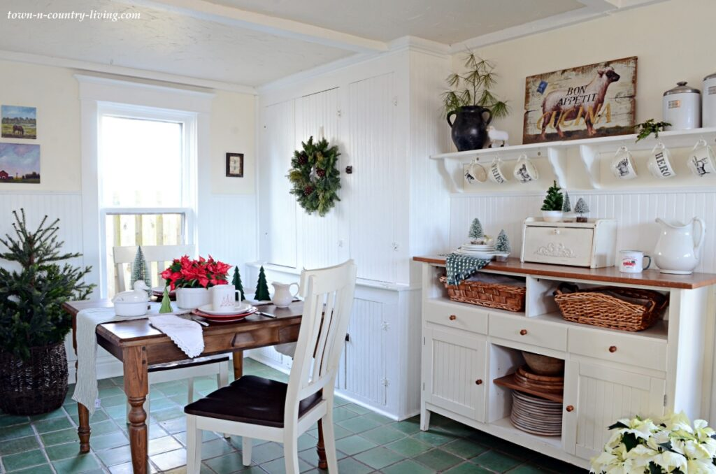 Farmhouse Kitchen Decorated for Christmas