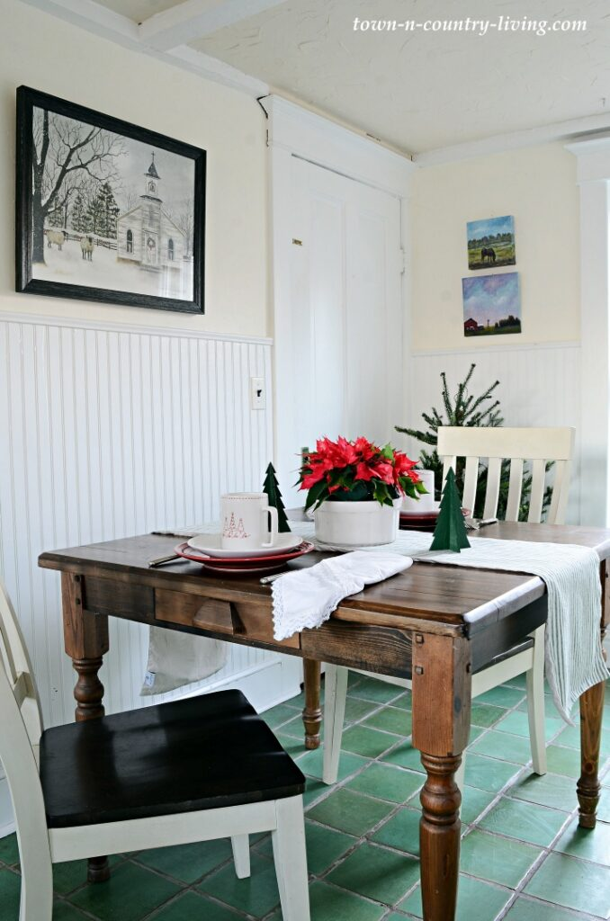 Christmas Breakfast Nook in Historic Farmhouse