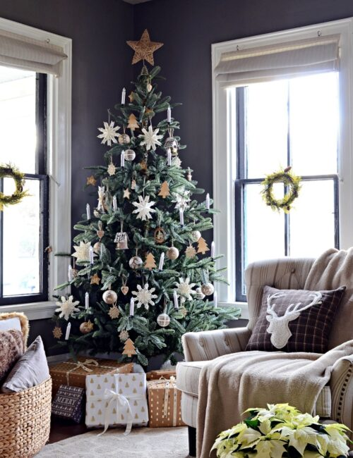 Scandinavian Style Christmas Tree in a Dark Gray Living Room