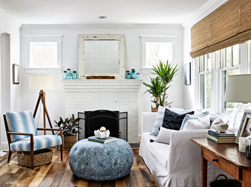 Cottage Bungalow Living Room with White Brick Fireplace