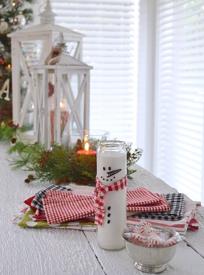 Snowman Candle by Fox Hollow Cottage